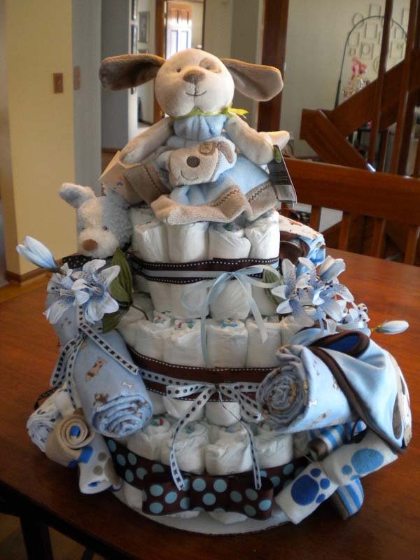 Little Boys Love Puppy Dog Diaper Cake Theme