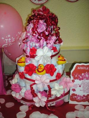 Samoan Red & Pink Diaper Cake