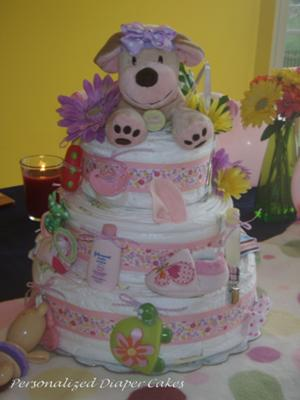 Three Tier Dog Diaper Cake  for a Little Girl